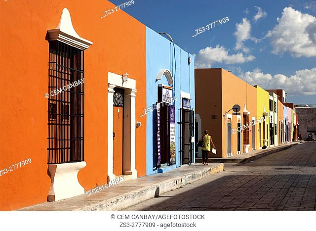 Colorful colonial buildings at the historic center of the town, Campeche, Yucatan Province, Mexico , Central America