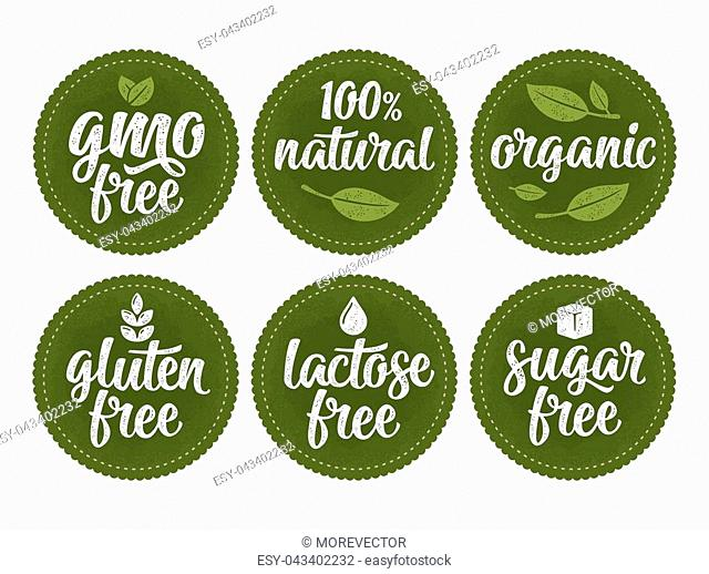 Gluten, lactose, sugar, Gmo free lettering with leaf, cube, drop. Vector white vintage illustration isolated on dark green circle sticker