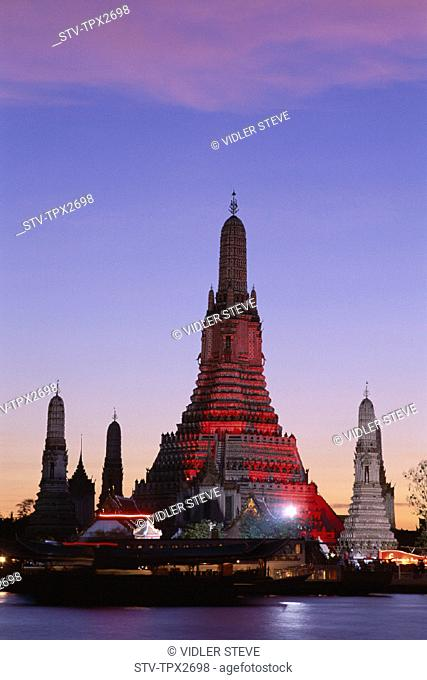 Asia, Bangkok, Chao, Holiday, Landmark, Night, Phraya, River, Temple of dawn, Thailand, Tourism, Travel, Vacation, View, Wat aru
