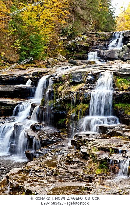 Wallenpaupack Creek Waterfalls seen from room 202 Ledges Hotel in Hawley, Pennsylvania, a resort hotel in the Poconos