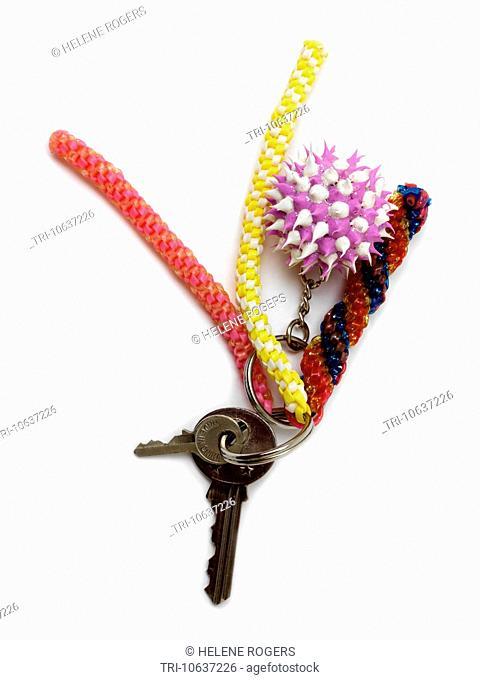 Keys On Keyring With Scoubidous