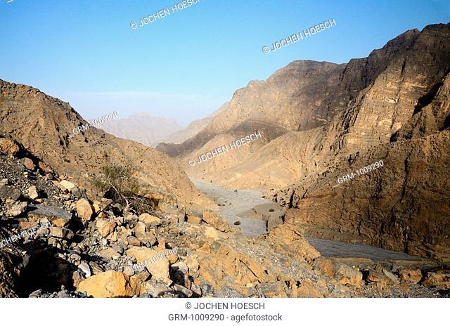 Hajar Mountains on Musandam peninsula, Oman