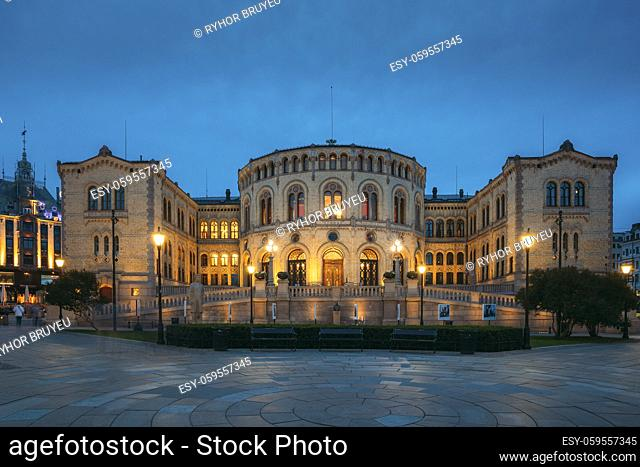 Oslo, Norway. Night View Of Storting Building. Parliament Of Norway Building
