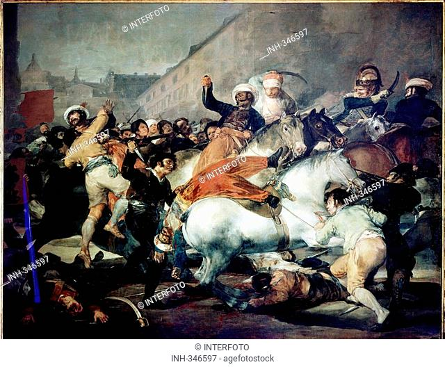 fine arts, Goya y Lucientes, Francisco Jose de, 1746 - 1828, painting, the second of May 1808 - the charge of the Mamelukes, 1814, oil on canvas