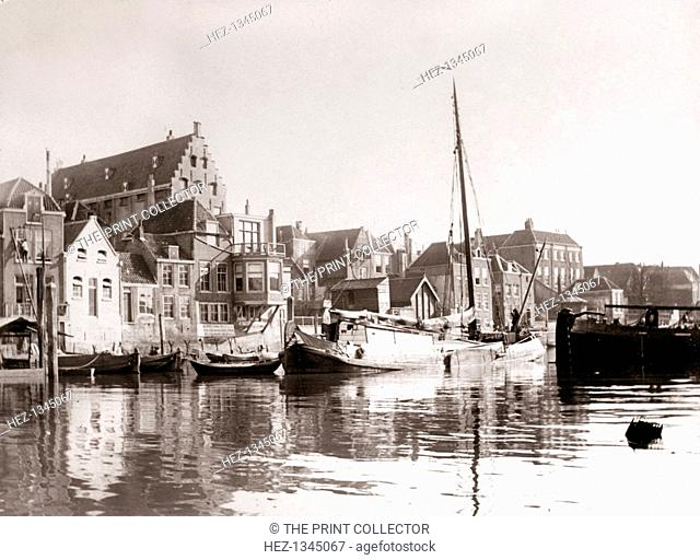 Canal boats, Dordrecht, Netherlands, 1898. Illustration from a book of photographs taken in Holland and Belgium by James Batkin, (1898)