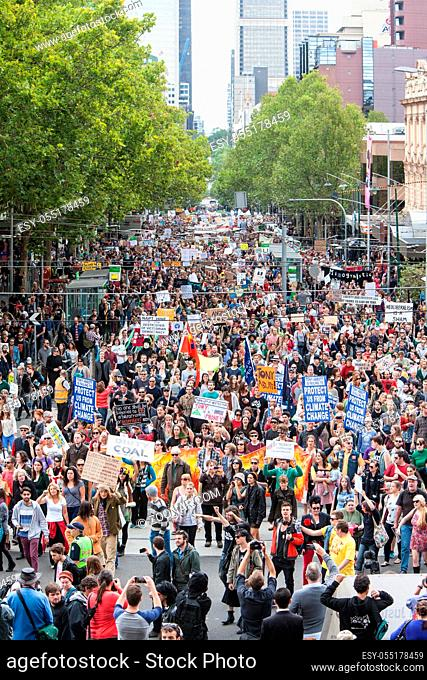 MELBOURNE, AUSTRALIA - March 16: March In March protest for people power, a vote of no confidence in the Liberal, Tony Abbott led government in Melbourne on...