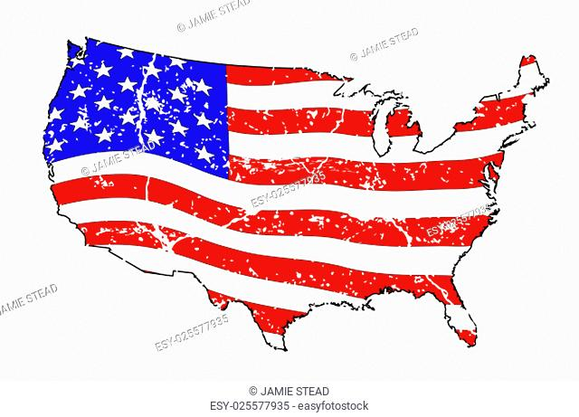 An outline silhouette map of The United States of America showing the Stars and Stripes flag beneath over a white background with grunge effect