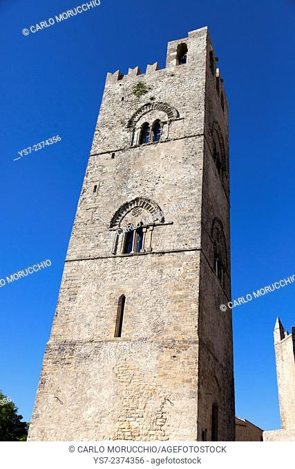 The bell tower of Duomo dell'Assunta, Chiesa Madre o Matrice, Erice, Trapani, Sicily, Italy, Europe