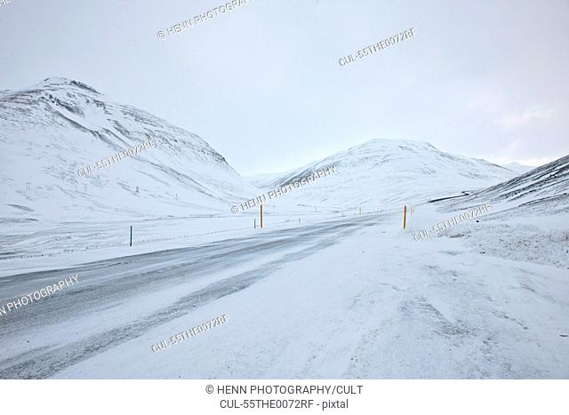 Snow covered road, Oxnadalsheidi, Iceland