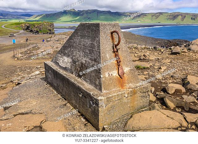 Concrete block on Dyrholaey promontory in Iceland
