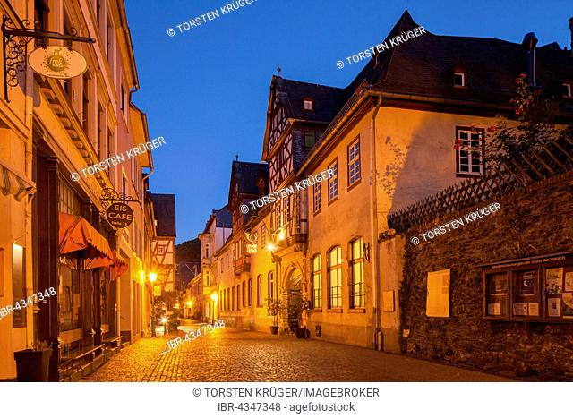 Oberstraße street in the historic centre with Posthof at dusk, Bacharach, Rhineland-Palatinate, Germany