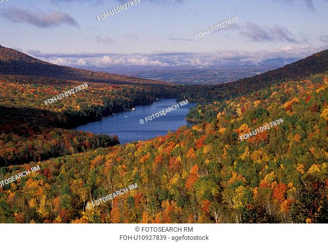 fall, foliage, lake, Vermont, Groton State Forest, Scenic view of Kettle Pond and colorful fall foliage from Owl's Head Overlook in Groton State Forest