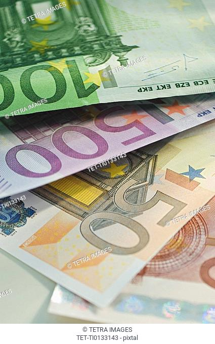 Assorted euro notes and coins