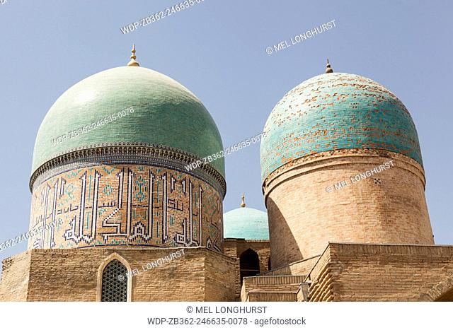 Domes of Gumbazi Saidon and Sheikh Shamsiddin Kulol Mausoleums, Dorut Tilovat Complex, Shakhrisabz, Uzbekistan