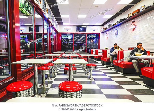 Stockholm, Sweden The interior of Daisy's fast food restaurant in Skarholmen
