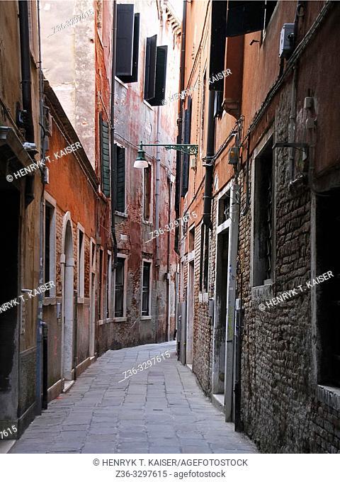 Narrow street in Venice, Italy, Eu
