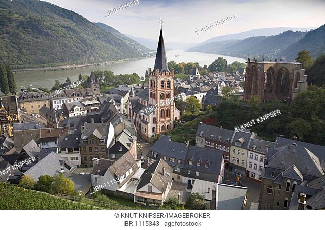 View over the centre of the town of Bacharach in Rhineland-Palatinate, Germany, Europe