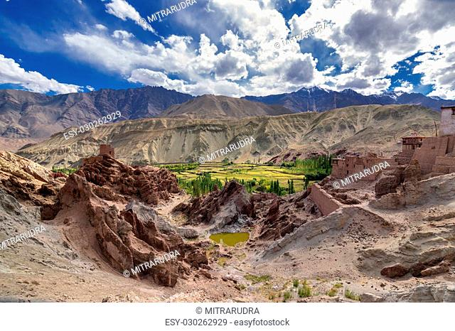 Ruins at Basgo Monastery with stones , rocks and a pond, natural view from top, Jammu Kashmir, Leh, Ladakh, India