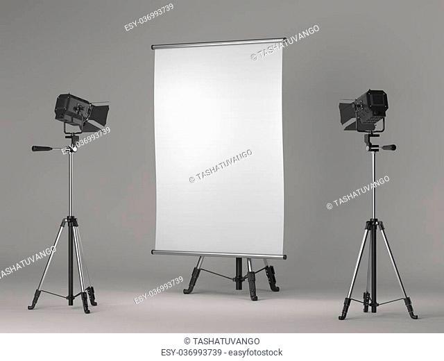 Flipchart on Tripod and Studio Lighting on Grey Background