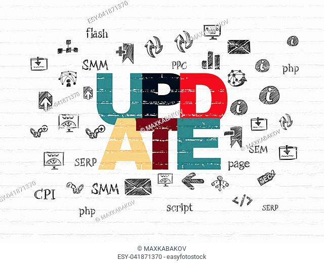 Web design concept: Painted multicolor text Update on White Brick wall background with Hand Drawn Site Development Icons