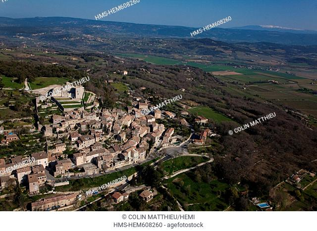 France, Vaucluse, Parc Naturel Regional du Luberon Natural Regional Park of Luberon, Lacoste, the castle owned by Pierre Cardin aerial view