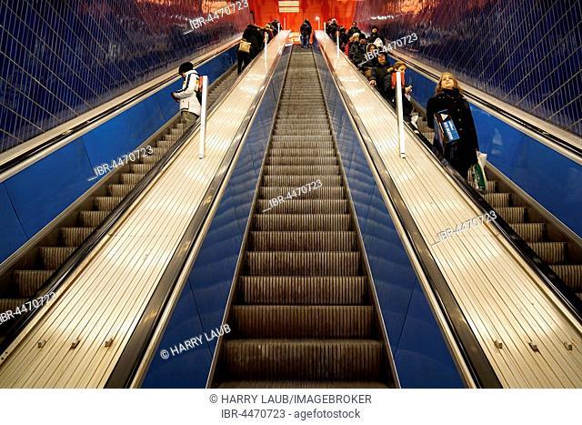 Escalator, Marienplatz subway station, Munich, Upper Bavaria, Bavaria, Germany subway station