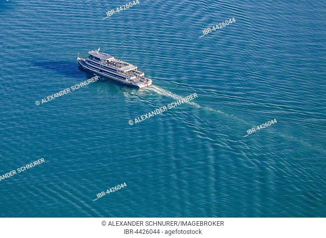 Aerial view, MS Graf Zeppelin, BSB ship, Lake Constance, Baden-Württemberg, Germany
