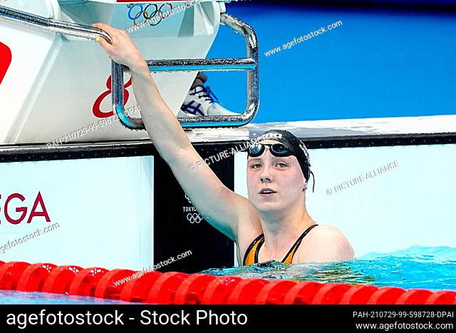 29 July 2021, Japan, Tokio: Swimming: Olympics, 800m freestyle, women, heats: Isabel Gose of Germany after her heat. Photo: Michael Kappeler/dpa