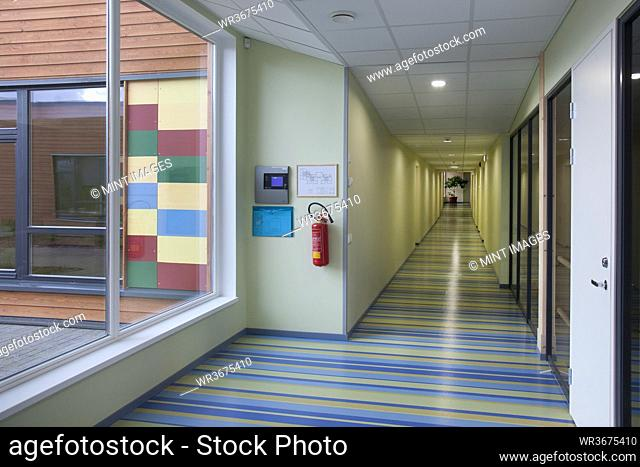 Colorful School Hallway, with a striped floor
