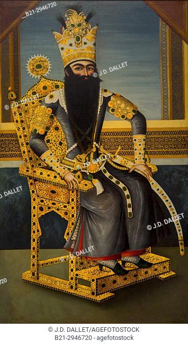 France, Hauts de France. Pas de Calais. Louvre-Lens Museum: Fat'h Ali Shah (1797-1834) ruler of the Qajar dynasty (canvas attributed to Mihr Ali, activ in Iran