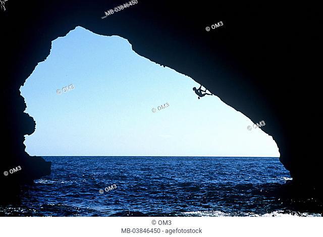 Chris Sharma, pro-climbers, personality-rights, Spain, heed Majorca sea silhouette Balearen, Mediterranean, climbers, series, island rock-bow coast, rock-coast
