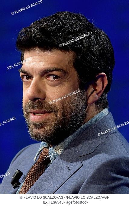 The actor Pierfrancesco Favino during the tv show Che tempo che fa, Milan, ITALY-02-04-2017