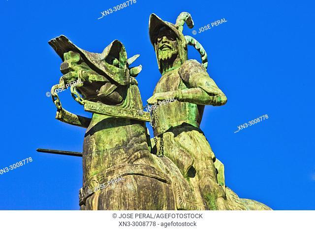 Equestrian statue of Francisco Pizarro, Plaza Mayor, Main Square, Trujillo, Caceres Province, Extremadura, Spain, Europe