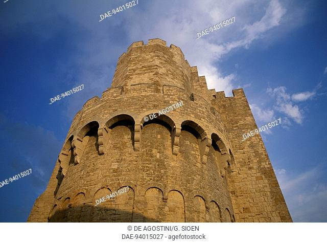 Apse of the fortified Abbey Church of Notre-Dame, Saintes-Maries-de-la-Mer, Provence-Alpes-Cote d'Azur, France, 9th-12th century