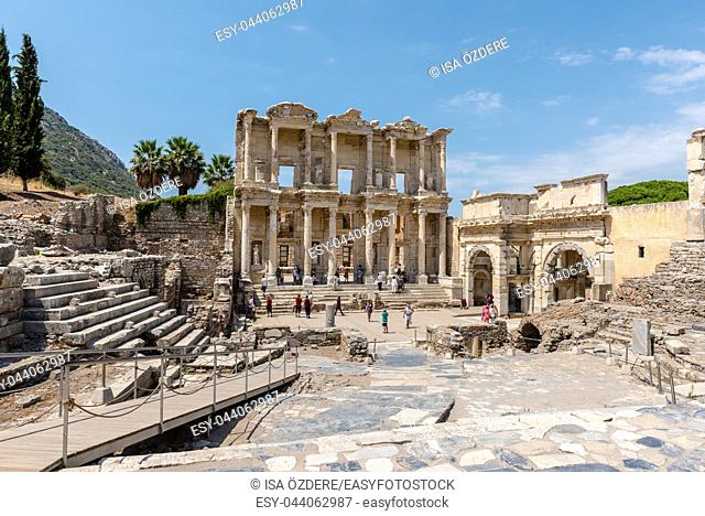High Resolution panoramic view of Ancient Celsus Library at Ephesus historical ancient city, in Selcuk,Izmir,Turkey:20 August 2017