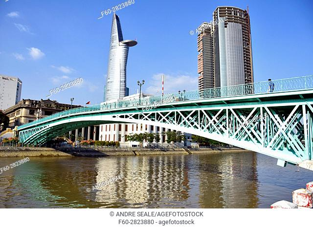 Rainbow Bridge and Bitexco Financial Tower, Ho Chi Minh City, Vietnam