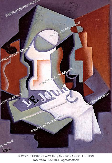 Painting titled 'Botella y Frutero' painted by Juan Gris (1997-1927) Bottle and Fruit Dish. Dated 1919