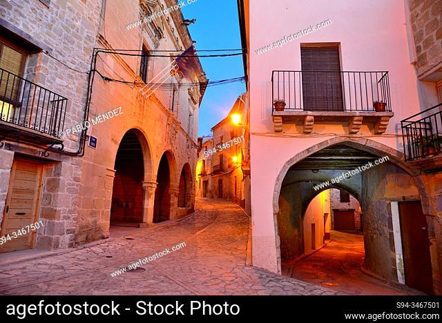 Main square of Torre del Compte, Matarraña, Teruel, Spain