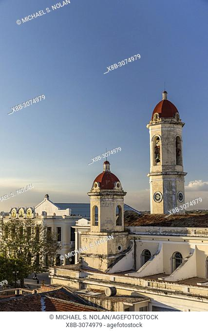 The bell towers of the Catedral de la Purísima Concepción in Plaza José Martí, Cienfuegos, Cuba