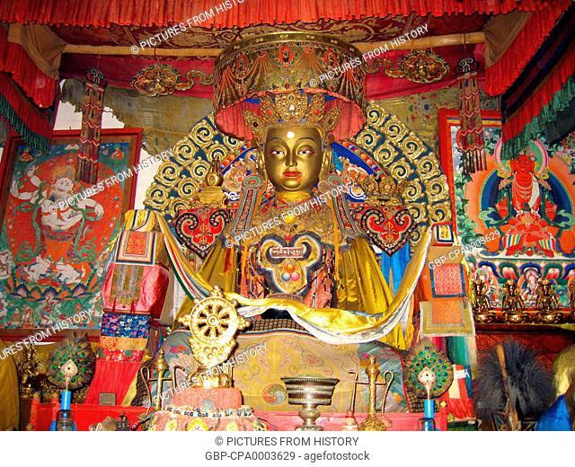 Mongolia: A Buddha image at Erdene Zuu Monastery near Karakoram