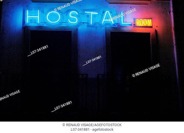 Neon hostal sign. Sevilla. Spain