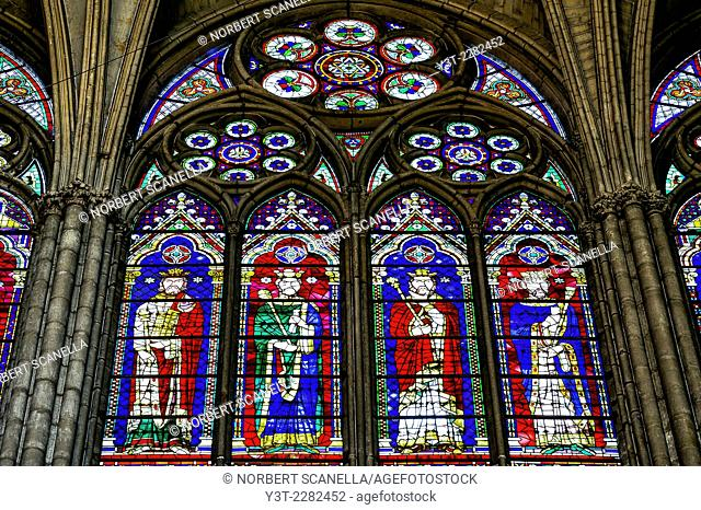 Europe. France. Ile-de-France. Seine-Saint-Denis. City of Saint-Denis. Cathedral-Basilica. Stained Glass of the kings of France