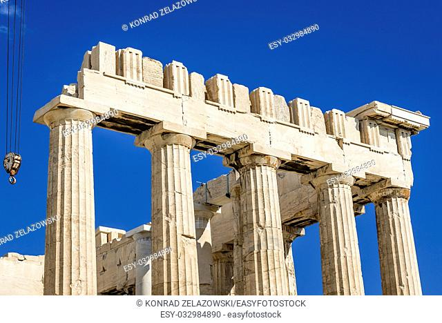 Close up on Parthenon temple dedicated to the goddess Athena, , part of Acropolis of Athens city, Greece