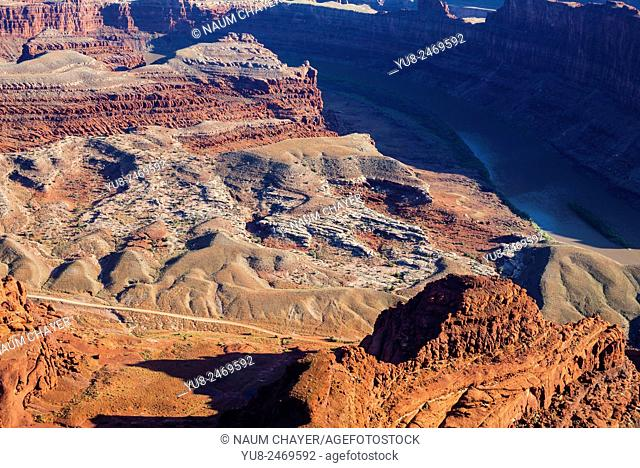 Panorama of the Colorado River and Canyonlands National Park from Dead Horse Point State Park, Utah, USA