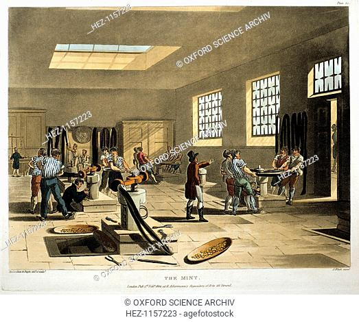 The Mint, London, 1808-1811. Coins being produced with coining presses. From The Microcosm of London, published by Ackermann, London 1808-1811