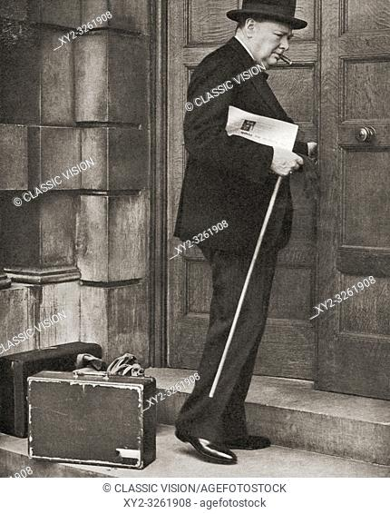 Winston Churchill, seen here returning to the admirality in 1939 after being appointed First Lord of the Admiralty following the outbreak of the Second World...
