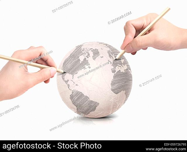 Two hand shade drawing America map on paper ball on white background