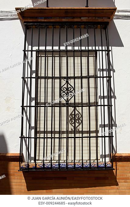 Traditional andalusian wrought iron window, Moguer, Spain