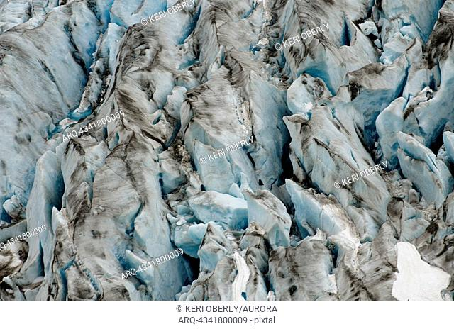 The multiple colors of a glacier are seen on the Exit Glacier in Seward, Alaska