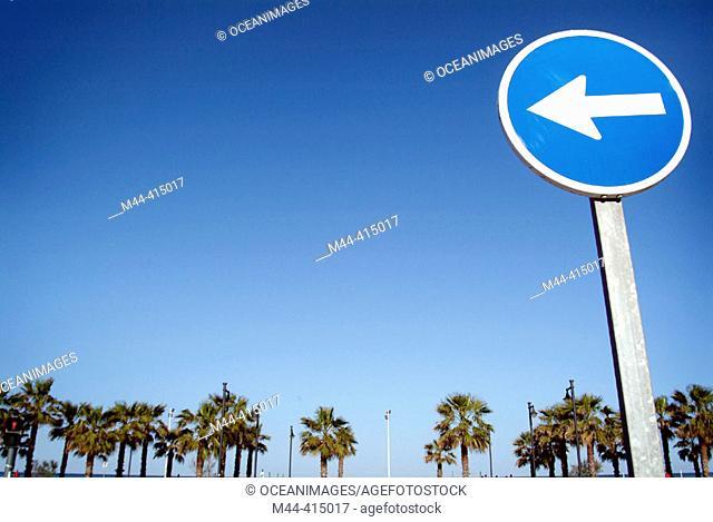 One way sign, Malvarrosa beach. Valencia. Spain